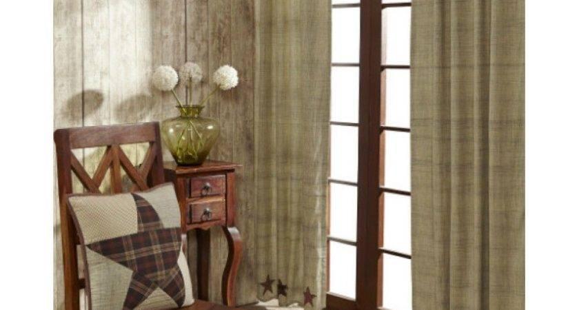 Abilene Star Panel Set Scalloped Curtains Applique Rustic