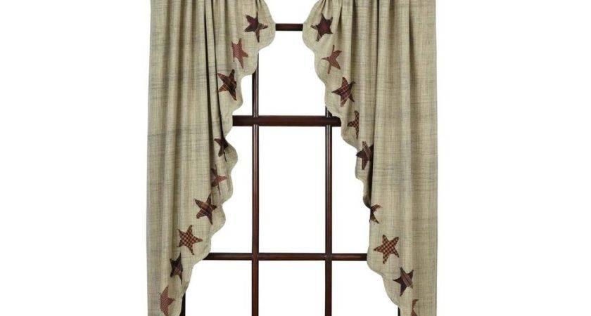 Abilene Star Prairie Curtain Set Applique Dark Cream