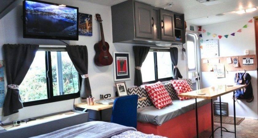 Adventurous Couple Convert Travel Trailer Into Tiny Home