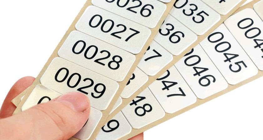 Aluminum Labels Sequential Numbers Sku