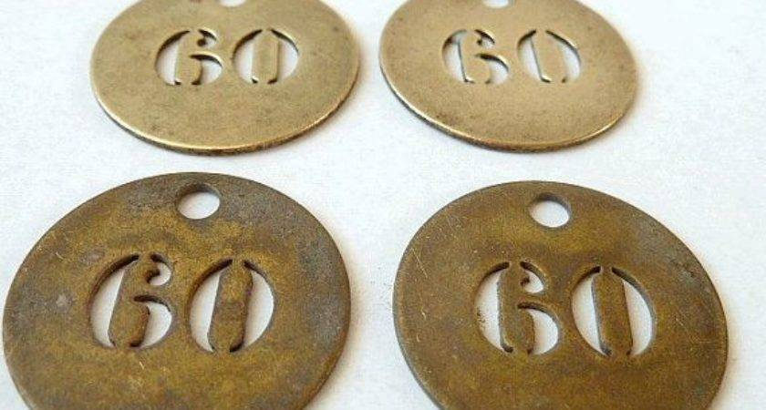 Antique Brass Number Numbered Hotel Room Tag