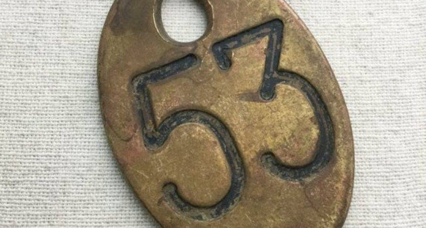 Antique Number Tag Brass Cow Metal Cattle