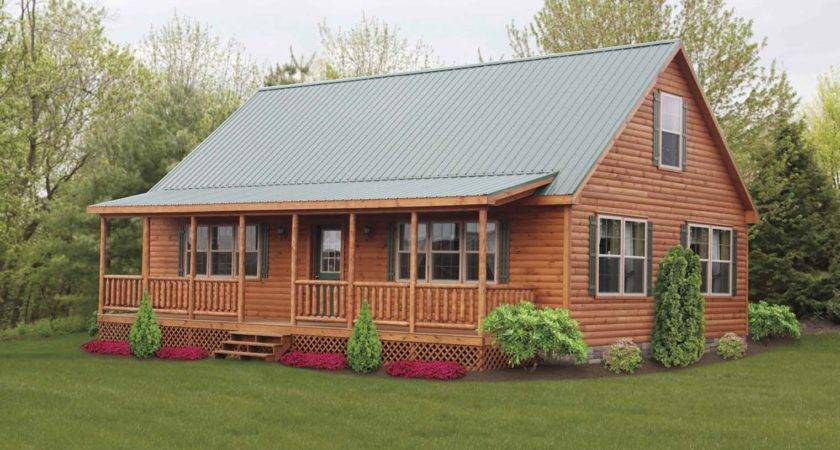 Appealing Log Cabin Double Wide Glass Windows Applied