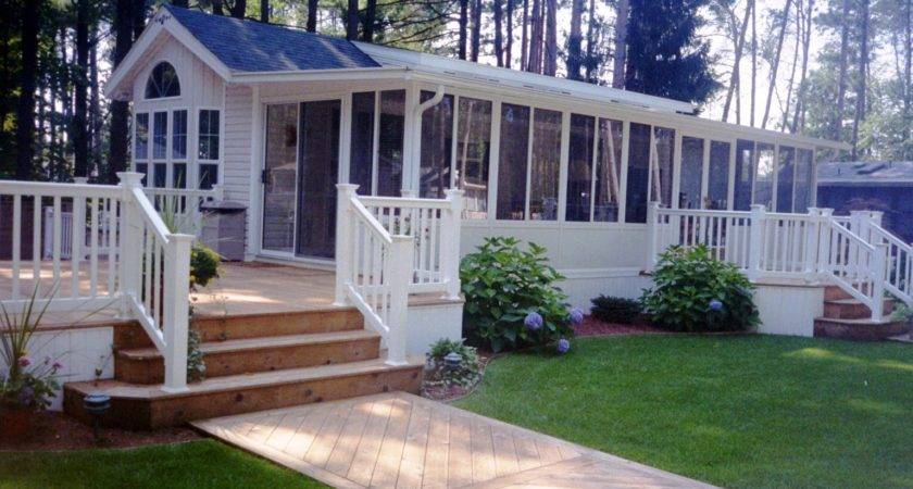 Appealing Mobile Home Deck Design Taupe Flooring