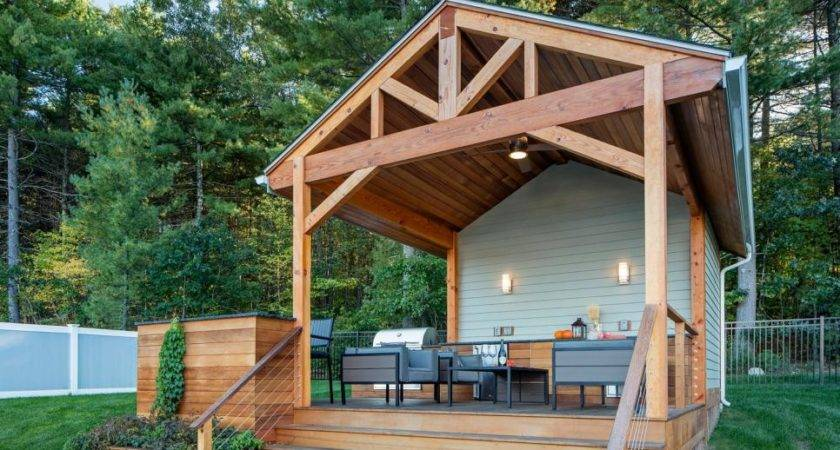 Attractive Poolhouse Covered Cedar Deck Outdoor