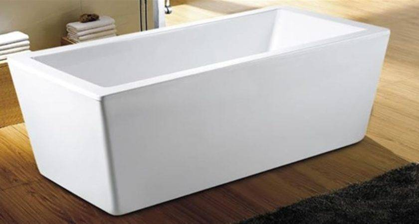 Bath Tub Standing Wide Flat Lip Modern Cube