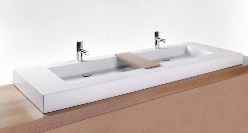 Bathroom Double Trough Sink Cube Collection