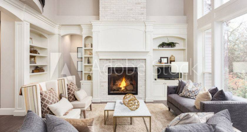 Beautiful Living Room New Luxury Home Fireplace