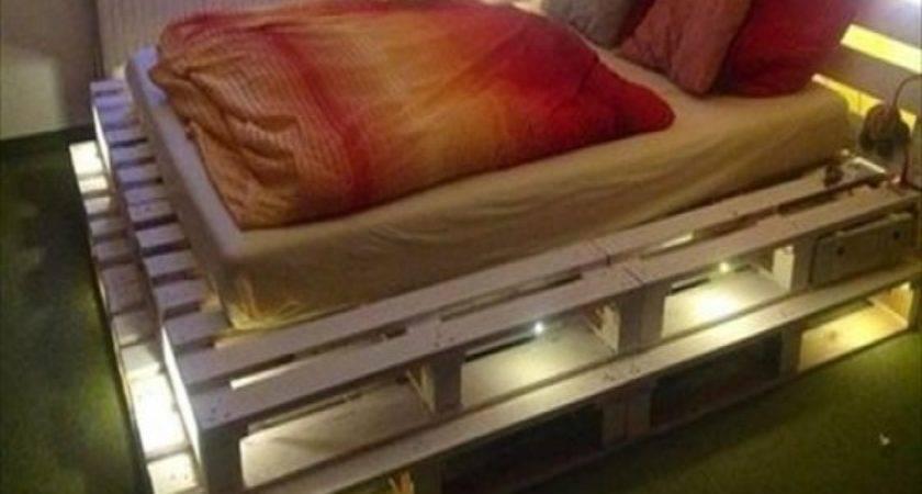 Bed Frame Made Pallets Lights Ideas Design