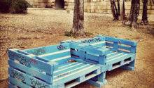 Benches Made Out Pallets Along Danube River