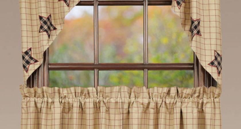 Bingham Star Applique Window Swag Primitive Rustic Creme