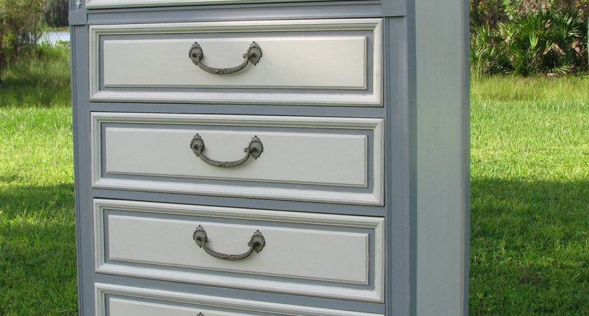 Brave Two Tone Grey White Painted Chest Drawer