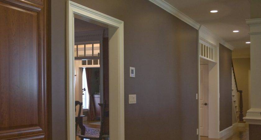 Brown Paint Color Kitchen Accent Wall Interior