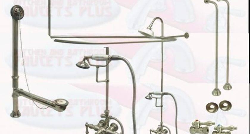 Brushed Satin Nickel Clawfoot Tub Faucet Drain Water