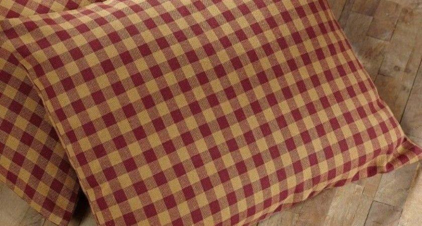 Burgundy Check Fabric Pillow Rustic Khaki Cotton Natural