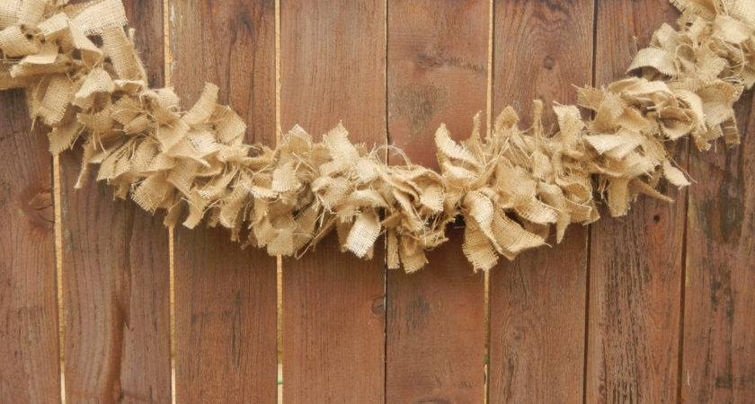 Burlap Garland Ready Ship Rustic Shabby Country