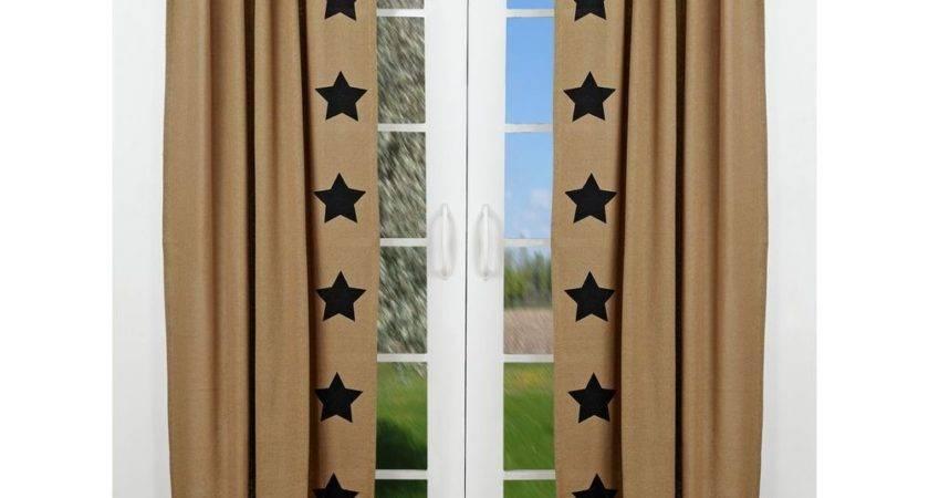 Burlap Natural Black Stars Panel Set Curtains