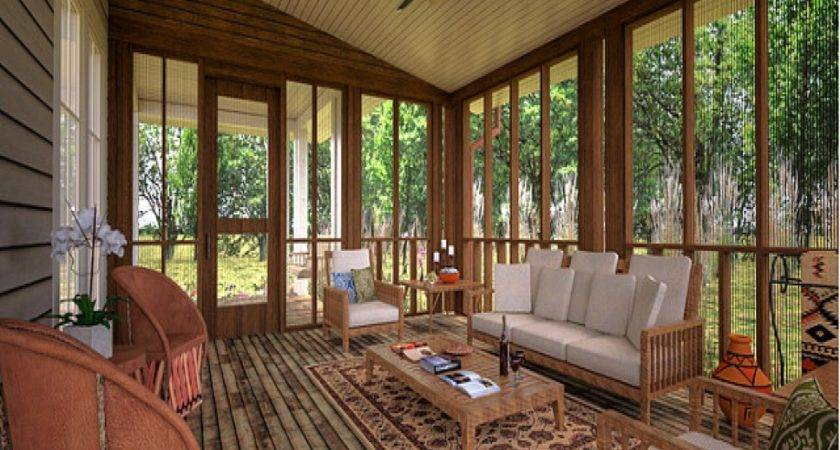 Ceiling Floor Drapes Screened Porch Ideas Houses