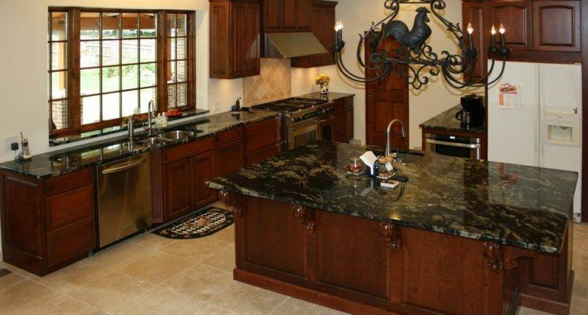 Cherry Wood Kitchen Cabinets Black Granite Brown