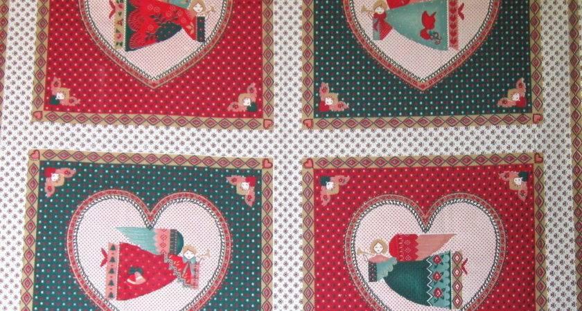 Christmas Angel Vtg Pillow Block Fabric Panel Country
