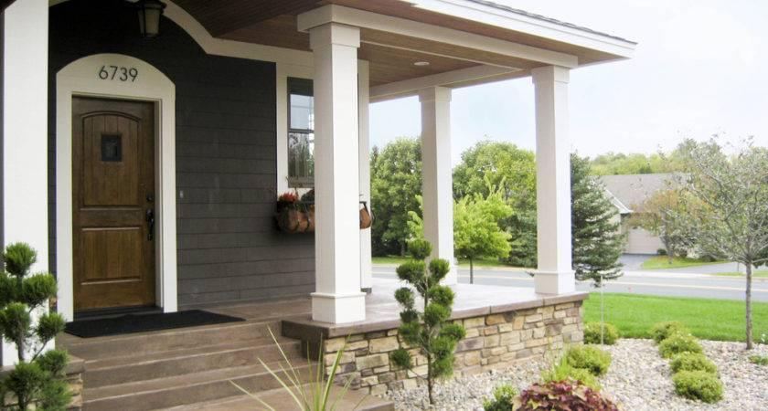 Concrete Porch Ideas Exterior Rustic Corten Fireplace