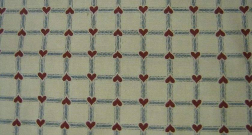 Cotton Fabric Country Hearts Primitive Homespun Half