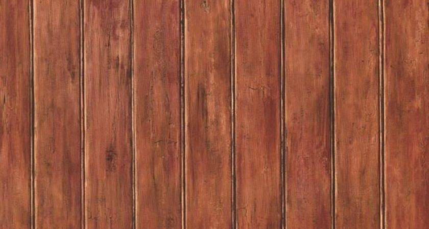 Country Faux Wood Bead Board Paneling Russet
