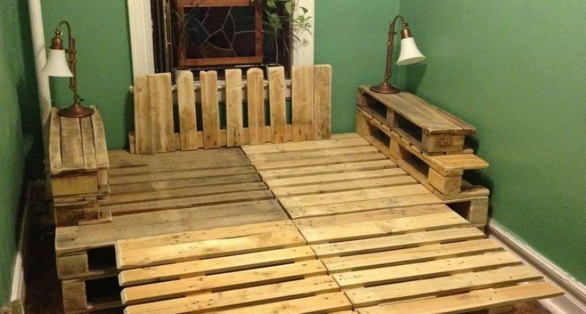 Country Wood Pallet Platform Bed Headboard Side