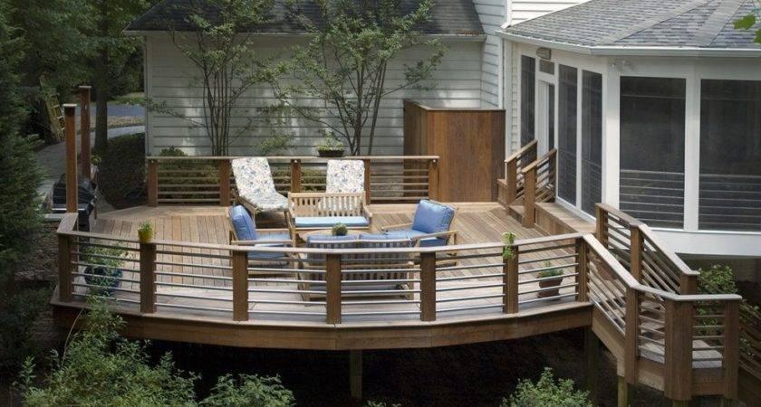Deck Railing Designs Exterior Rustic Wood Traditional