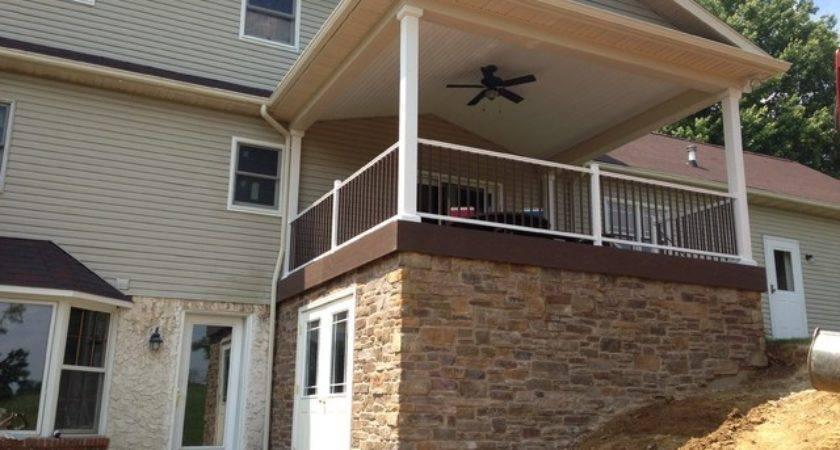 Deck Roof Over Stone Veneer Traditional