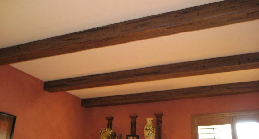 Decorating Amazing Faux Wood Beams Ceiling Open Shelves