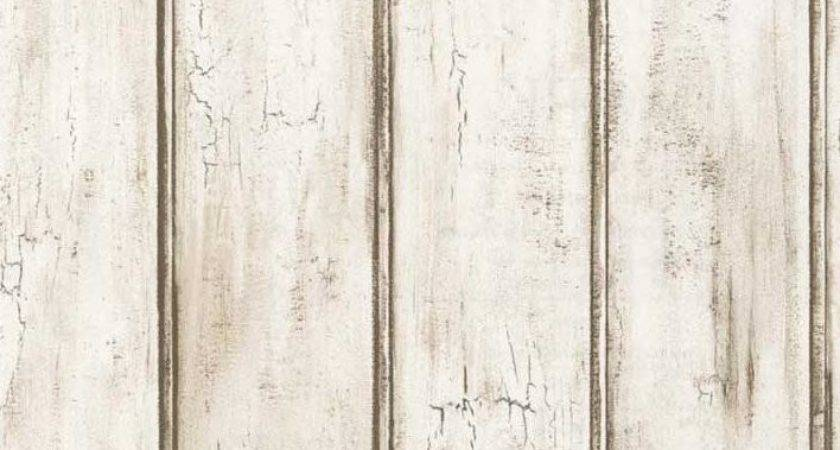 Distressed White Beadboard Faux Wood Aged Brown