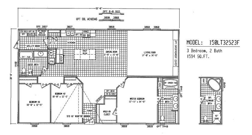 Double Wide Floor Plans Mobile Home Trailer
