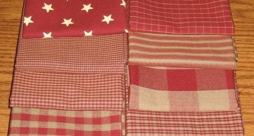 Dunroven House Primitive Country Red Homespun Fabric Fat