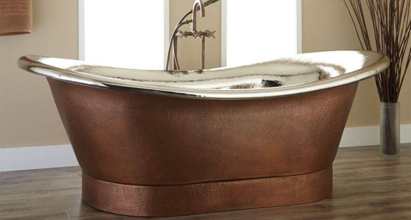 Extra Wide Marcy Hammered Copper Double Slipper Tub