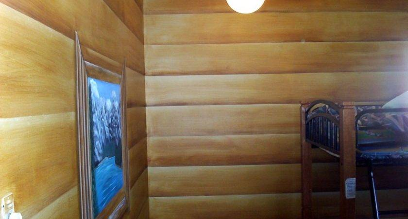 Faux Painted Log Cabin Walls