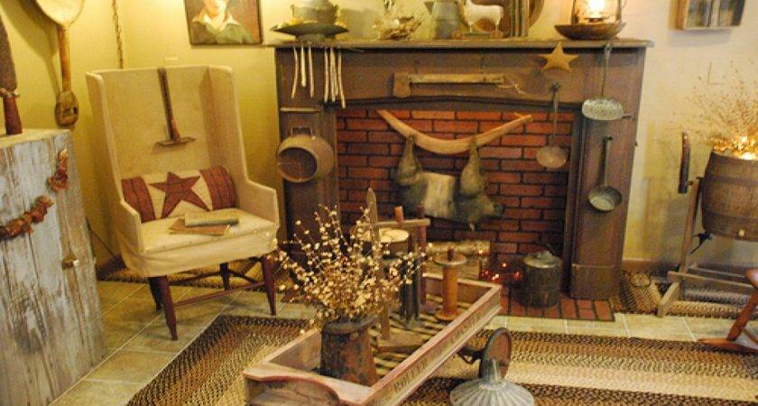 Fireplace Christmas Decor Primitive Country Decorating