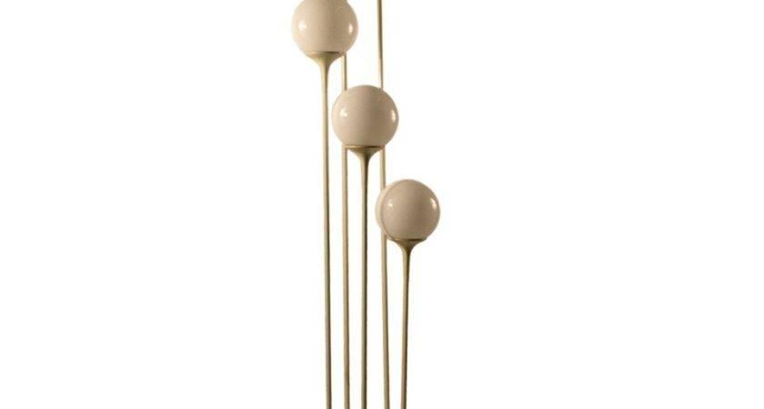 Five Light Cascading Ball Globe White Floor Lamp