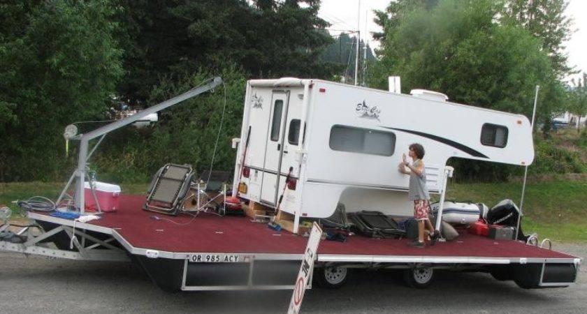 Floating Dock Converted Into Camper Barge