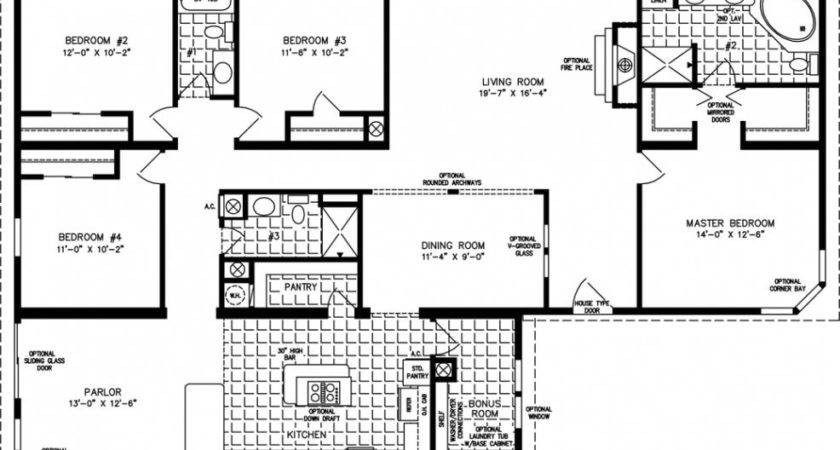 Four Bedroom Mobile Homes Floor Plans Inside