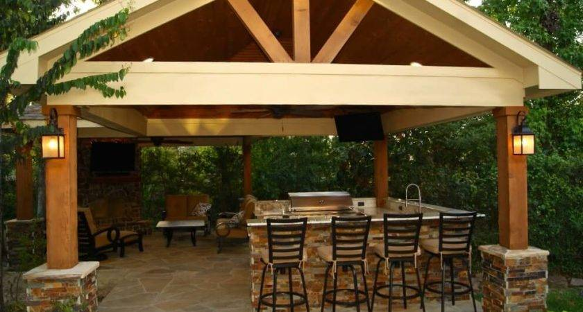 Freestanding Patio Cover Kitchen Fireplace