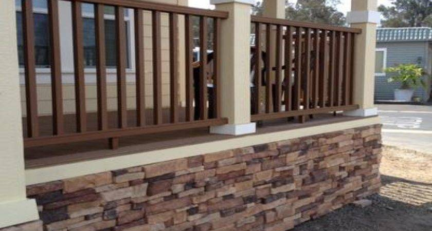 Front Deck Designs Mobile Home Skirting Stone Look Diy