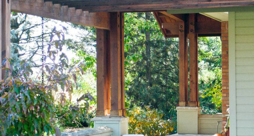 Front Porch Pergola Exterior Midcentury Clean Deck