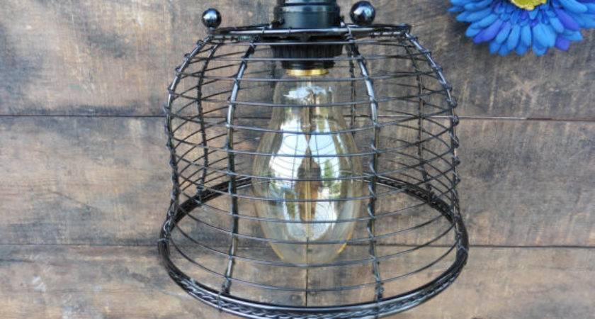 Hanging Black Metal Wire Basket Pendant Light Fixture