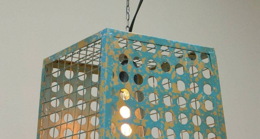 Hanging Metal Wire Basket Pendant Light Fixture Waleyvally