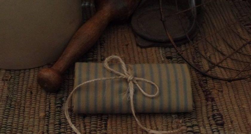 Homespun Fabric Slate Blue Ticking Primitive Country