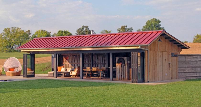 Horse Barn Designs Pool Farmhouse Brick Floor Outdoor