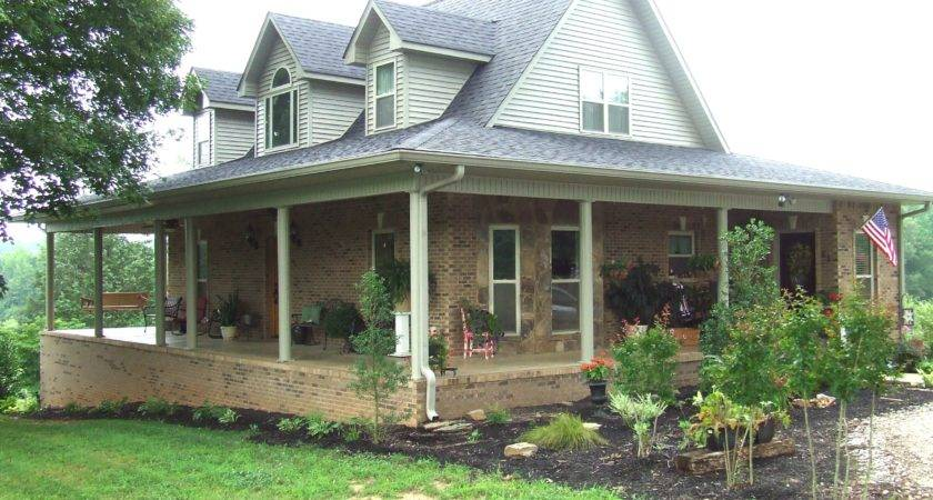 Houses Wrap Around Porches Home Plans Brick Farmhouse