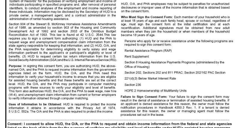 Hud Housing Application Form Format Pushapps