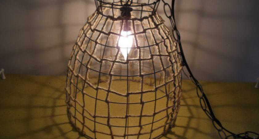 Industrial Metal Wire Basket Twine Hanging Light Fixture